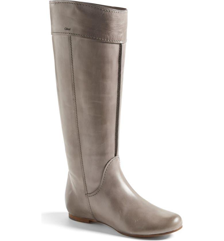 CHLOÉ 'Heloise' Tall Calfskin Leather Boot, Main, color, 020