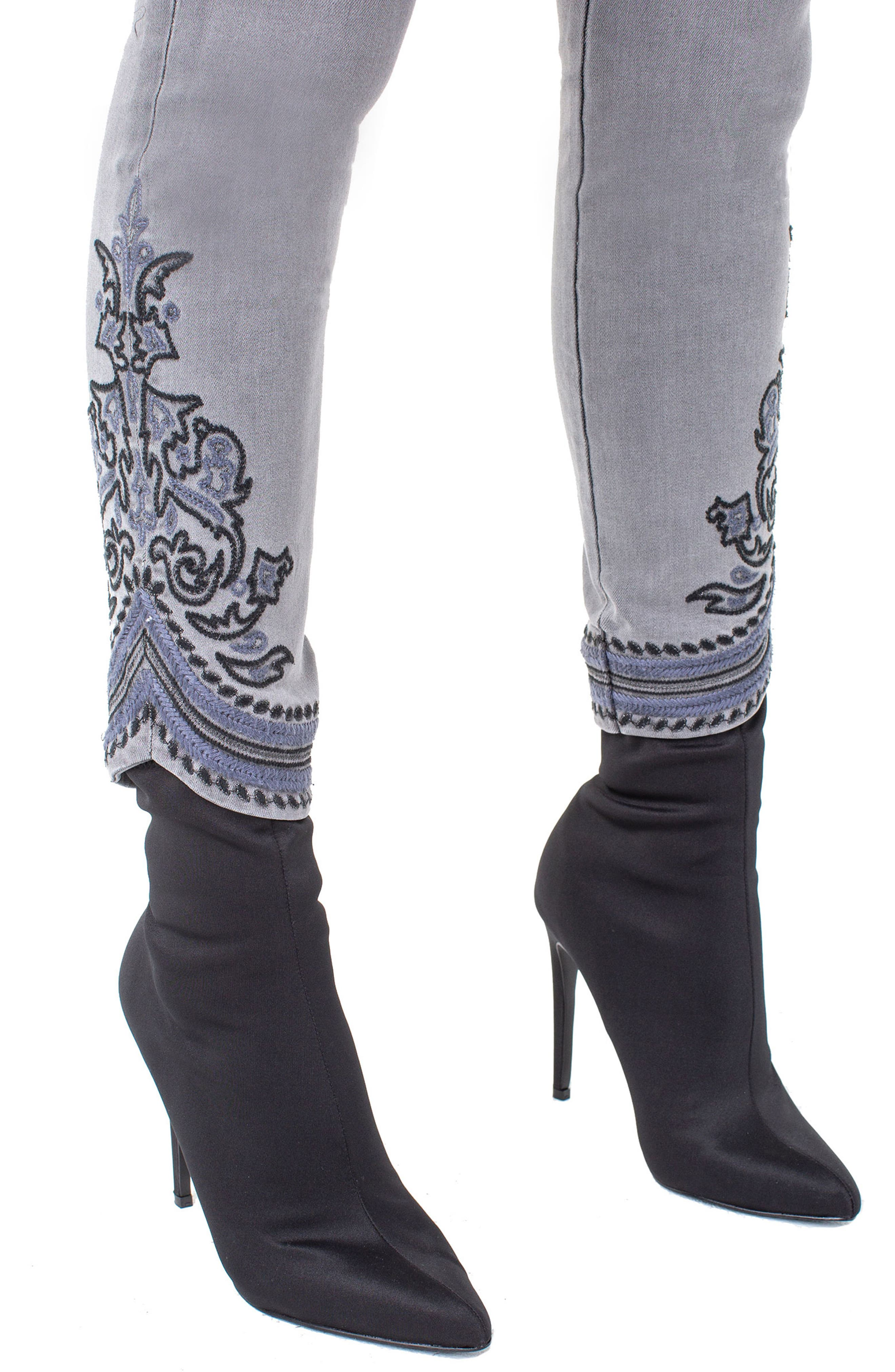 ,                             LVPL by Liverpool Kayden Embroidered Hem Ankle Jeans,                             Alternate thumbnail 4, color,                             023