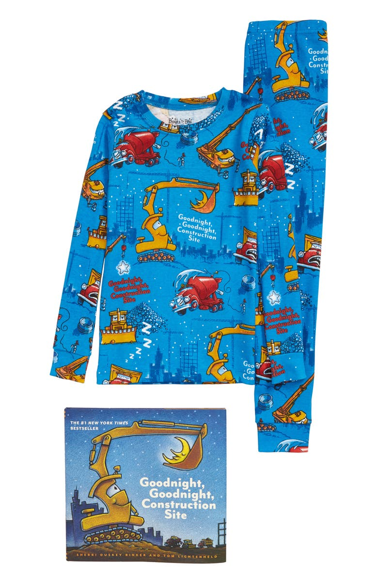 BOOKS TO BED Goodnight Construction Site Fitted Two-Piece Pajamas & Book Set, Main, color, BLUE