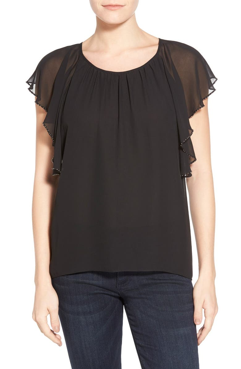TWO BY VINCE CAMUTO Embellished Flutter Sleeve Chiffon Top, Main, color, 001