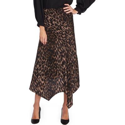 Vince Camuto Animal Print Asymmetrical Hem Skirt, Black