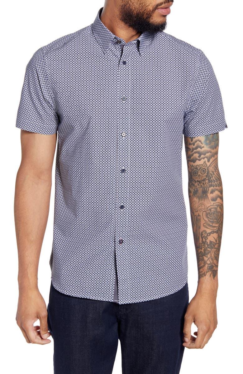 TED BAKER LONDON Hibiscus Flower Slim Fit Short Sleeve Shirt, Main, color, NAVY