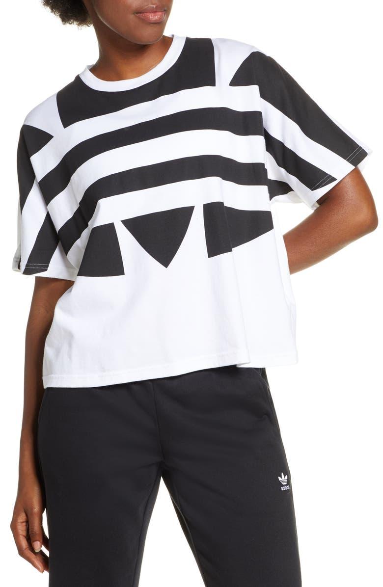 ADIDAS ORIGINALS Large Logo Tee, Main, color, WHITE/ BLACK