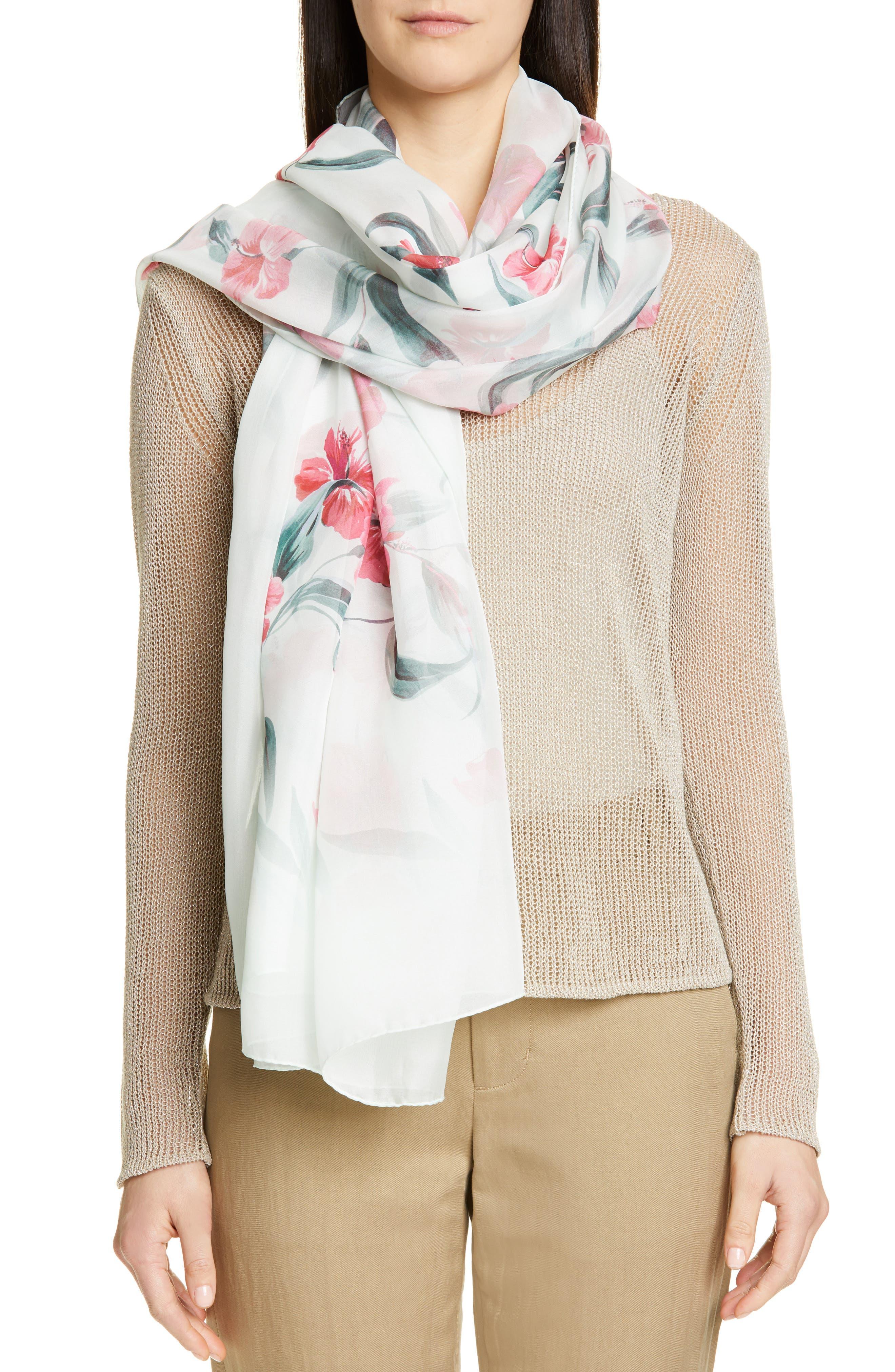 Dimma Floral Print Silk Scarf, Main, color, POWDER
