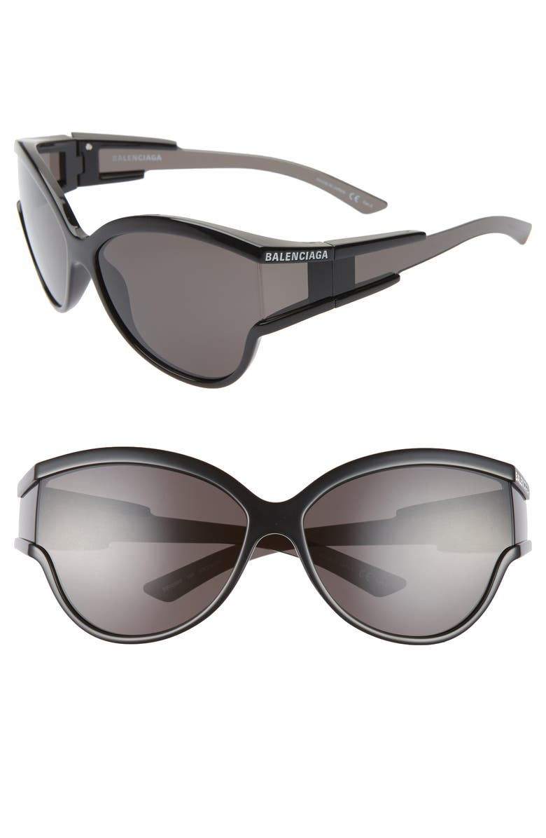BALENCIAGA 63mm Oversize Cat Eye Sunglasses, Main, color, SHINY SOLID BLACK/ GREY