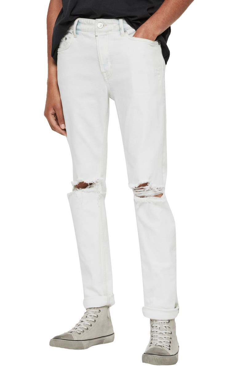 ALLSAINTS Rex Damaged Skinny Fit Jeans, Main, color, BLEACHED INDIGO BLUE