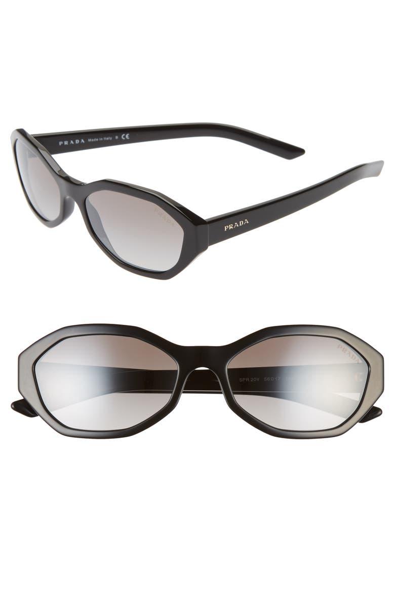 PRADA 56mm Gradient Geometric Sunglasses, Main, color, BLACK/ SILVER GRADIENT MIRROR