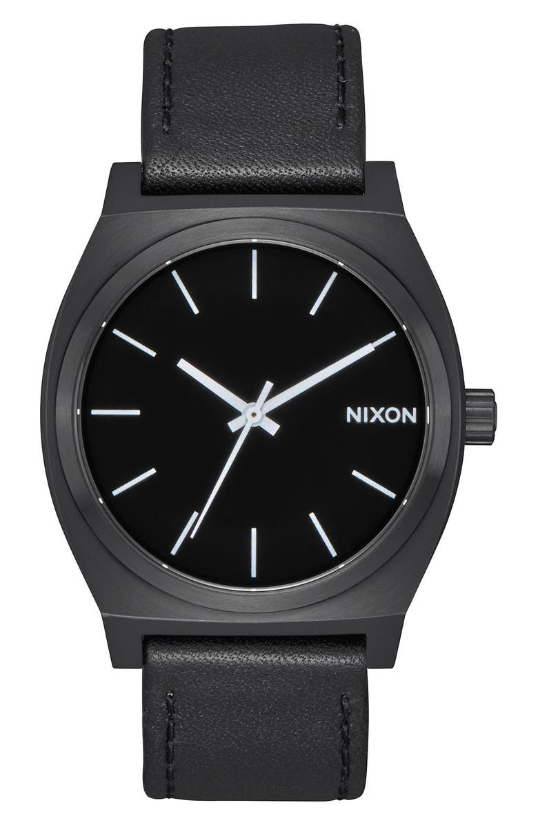 NIXON 'The Time Teller' Leather Strap Watch, 37mm, Main, color, 001