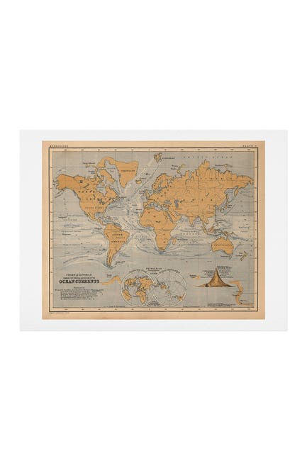 Image of Deny Designs Adam Shaw World Map with Ocean Currents Art Print