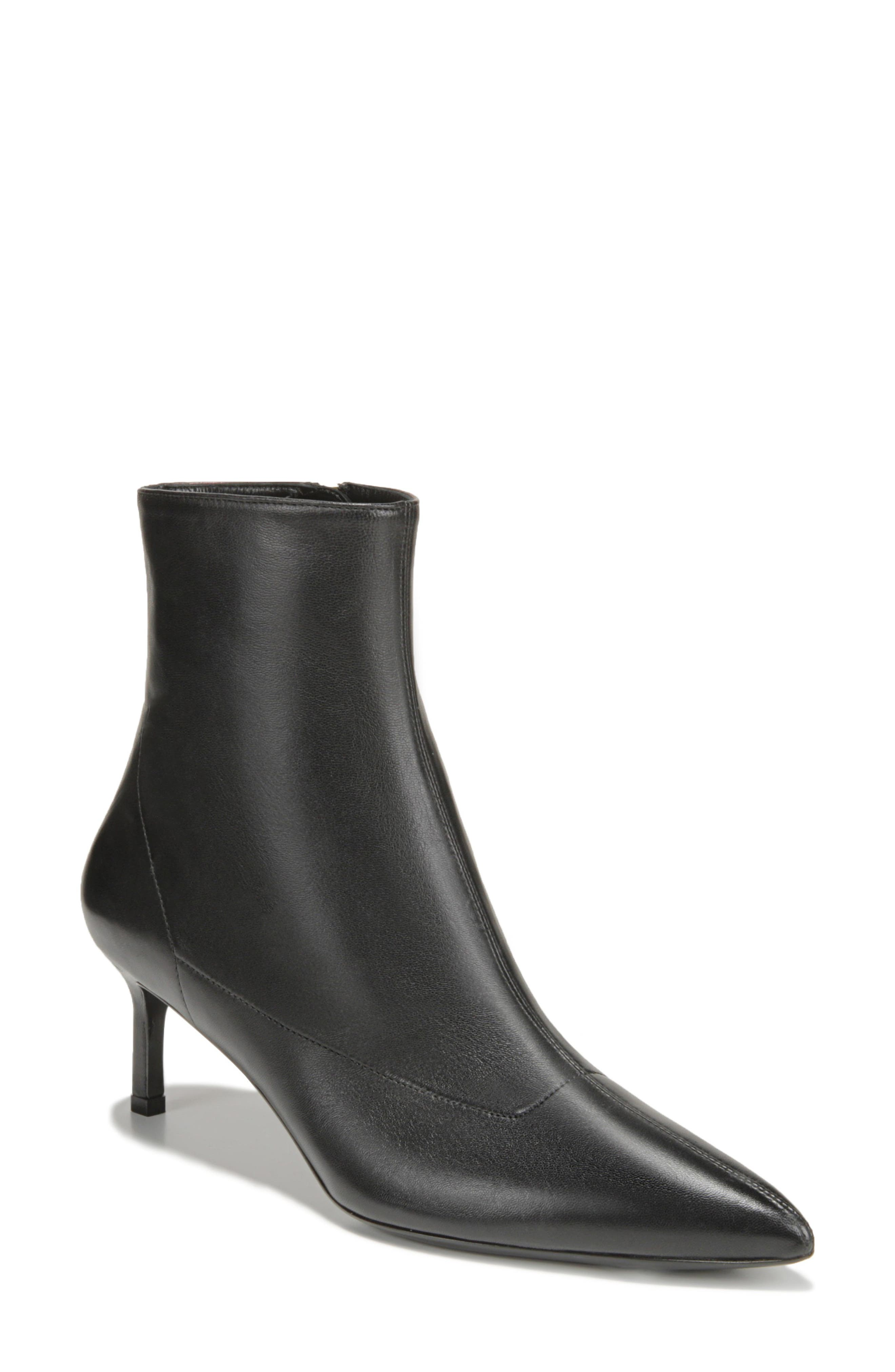 Image of Via Spiga Baronne Leather Pointy Toe Bootie