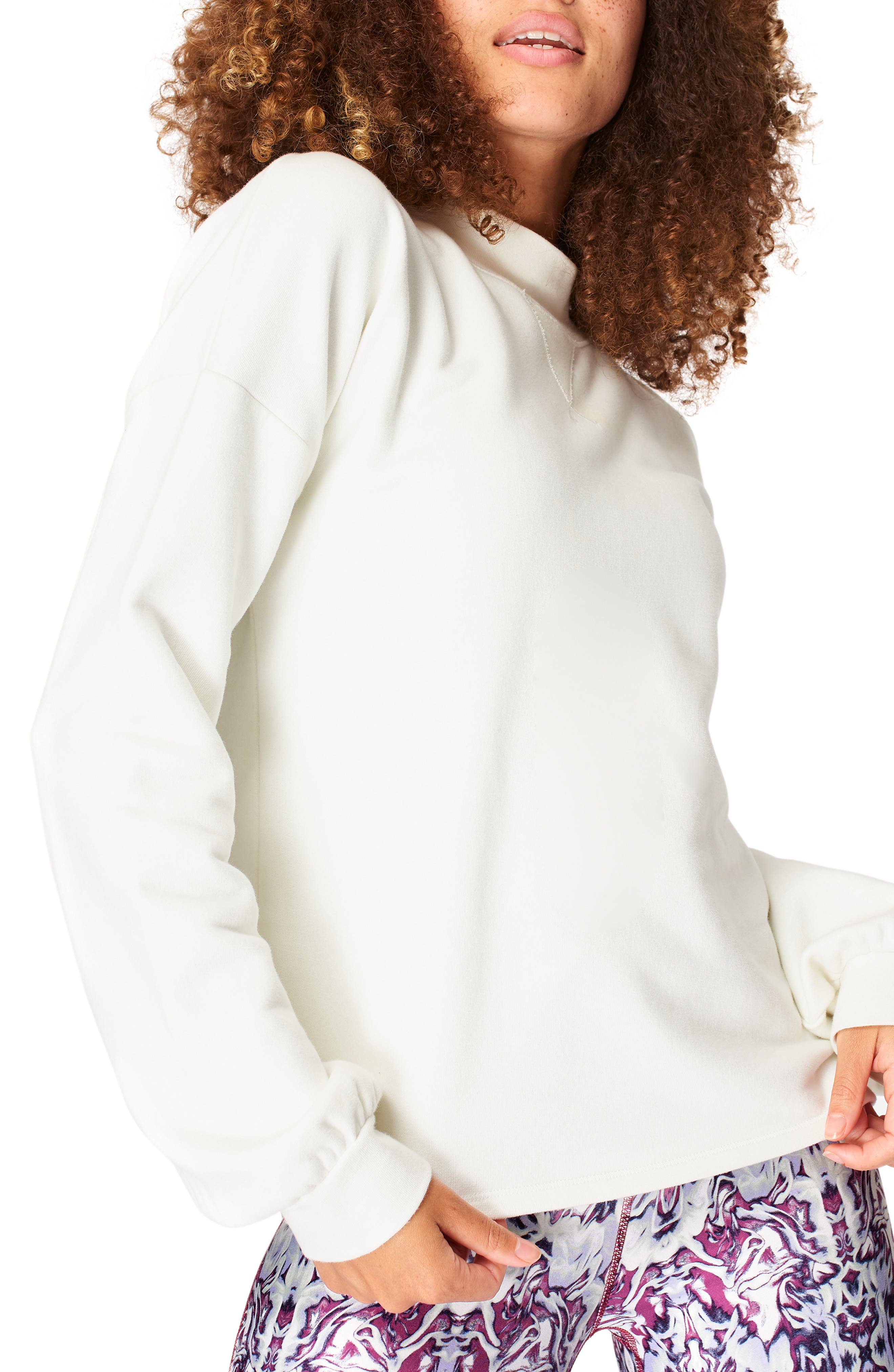 This relaxed sweatshirt designed with a mock neck and breezy open back will keep you comfortable as you go from errands to an afternoon yoga class. Style Name: Sweaty Betty Recline Open Back Sweatshirt. Style Number: 6084153. Available in stores.