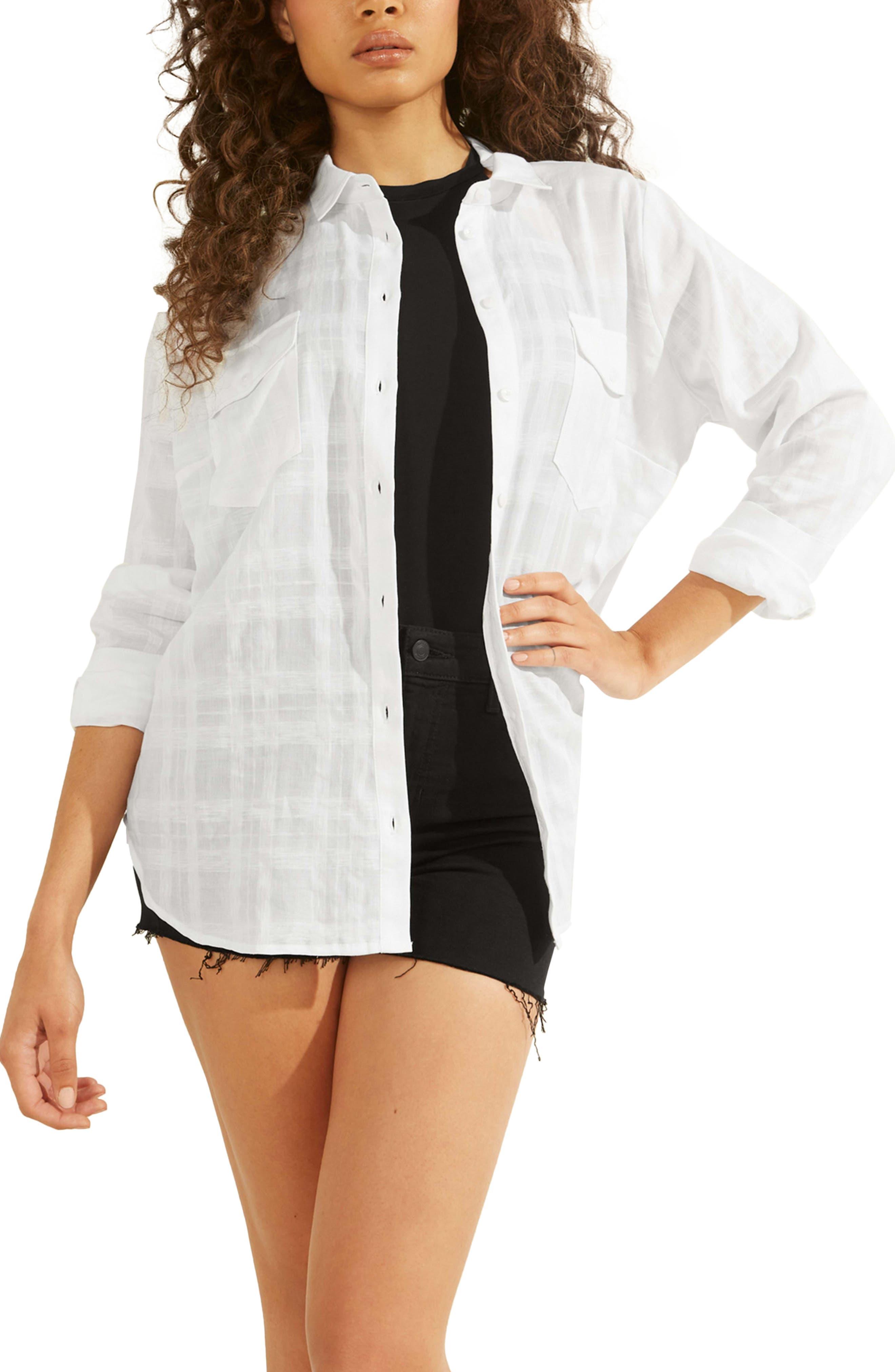 Malene Tonal Plaid Linen & Cotton Blend Button-Up Shirt