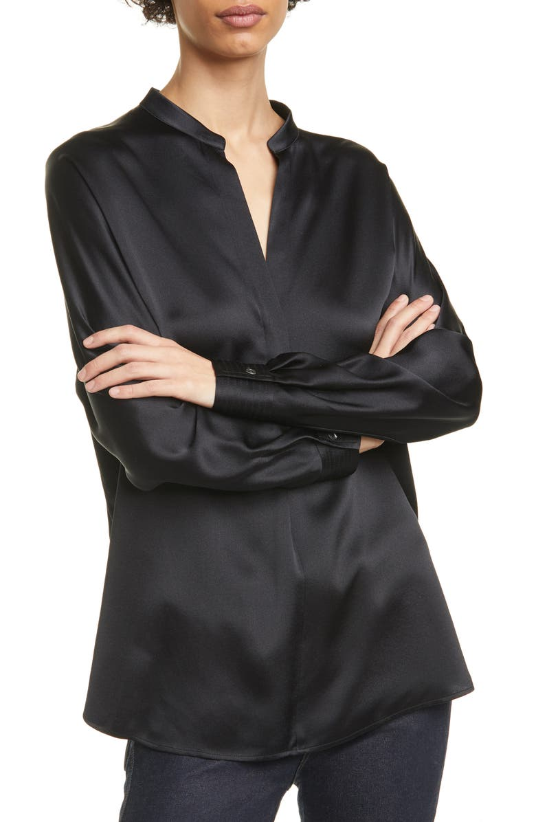VINCE Band Collar Silk Blouse, Main, color, BLACK