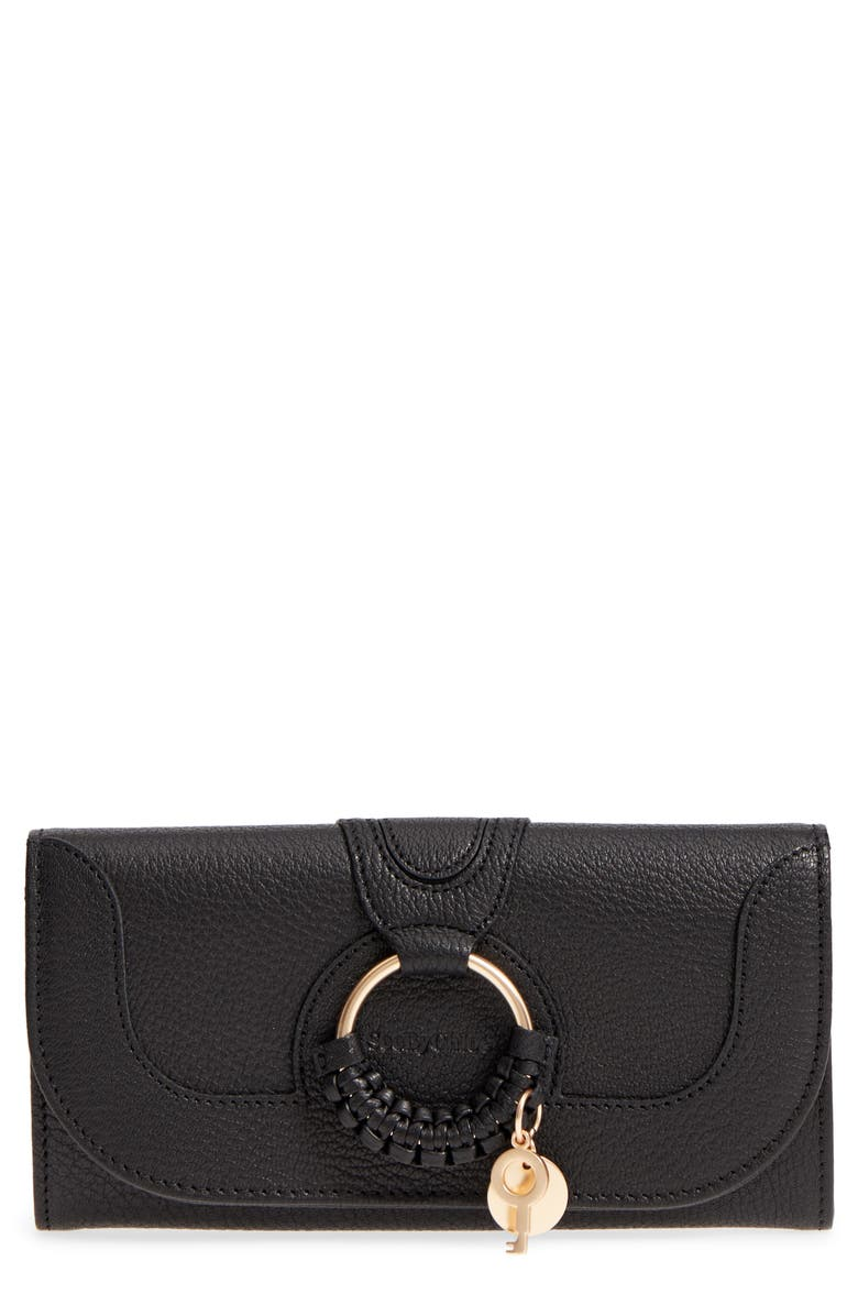 SEE BY CHLOÉ Hana Large Leather Wallet, Main, color, BLACK