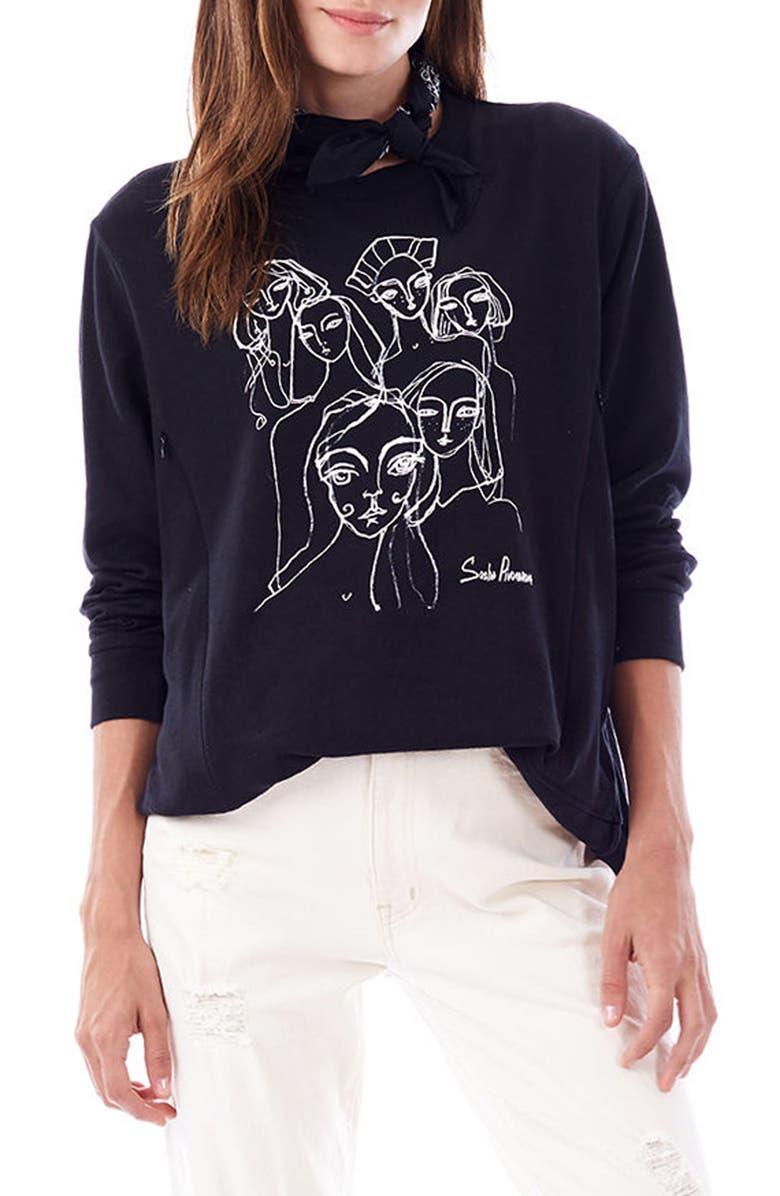 LOYAL HANA Sasha Maternity/Nursing Sweatshirt, Main, color, BLACK
