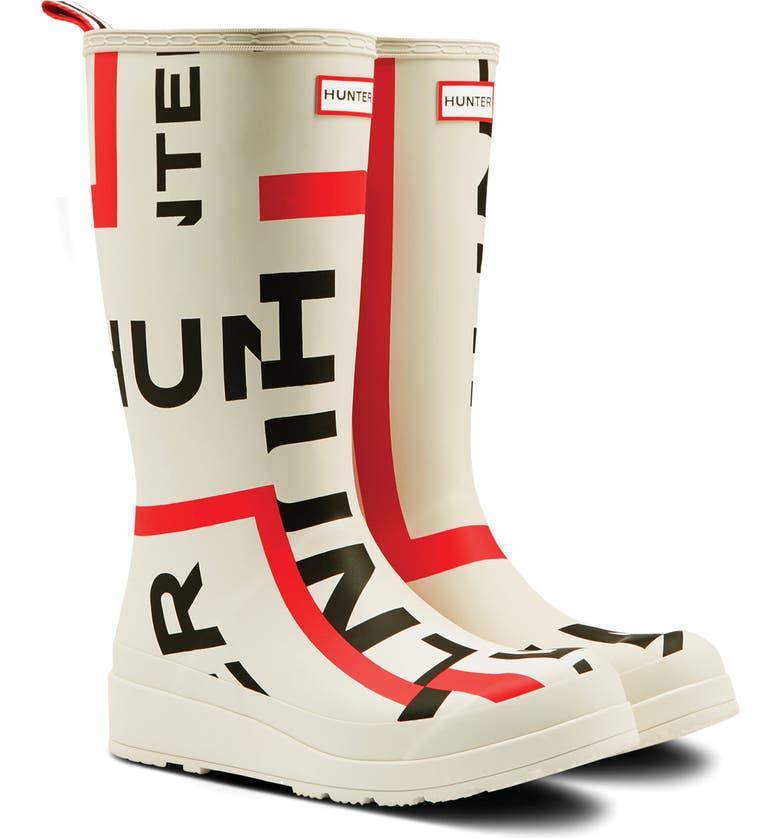 HUNTER Original Exploded Logo Tall Rain Boot, Main, color, WHITE
