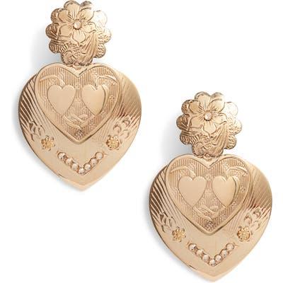 Gas Bijoux Love Heart Embossed Earrings