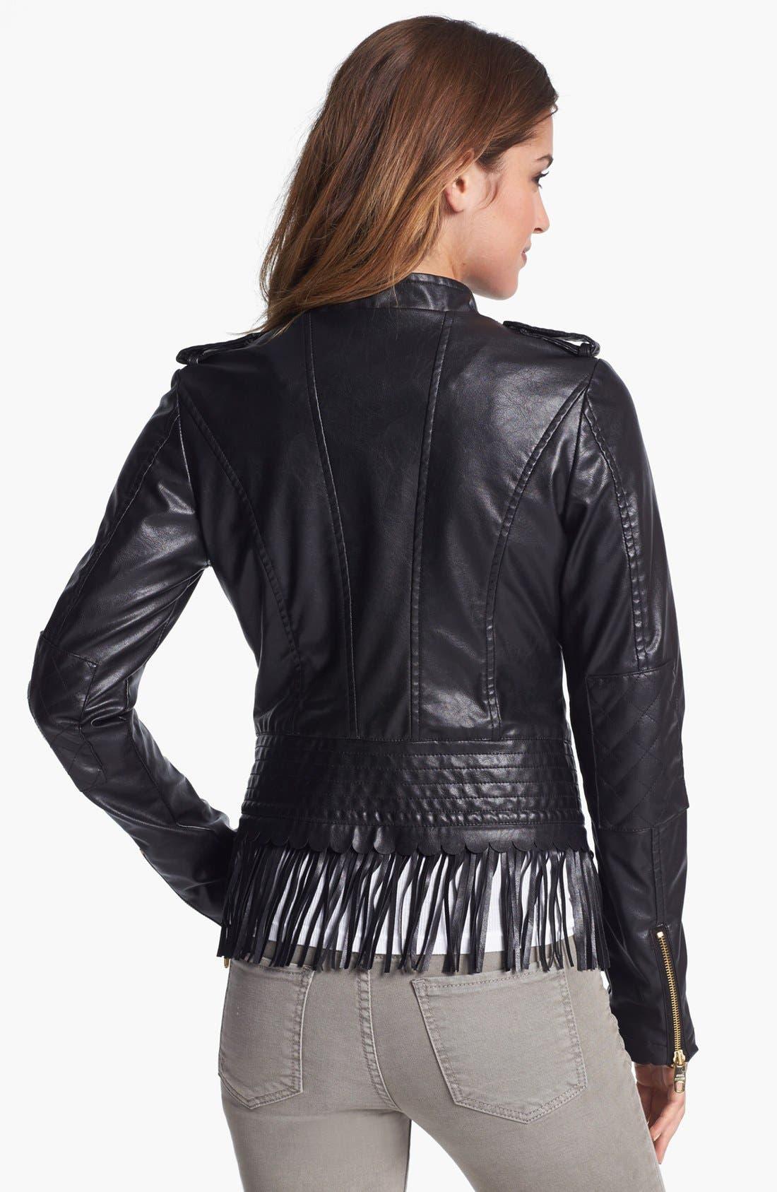 ,                             Fringe Trim Faux Leather Jacket,                             Alternate thumbnail 3, color,                             001