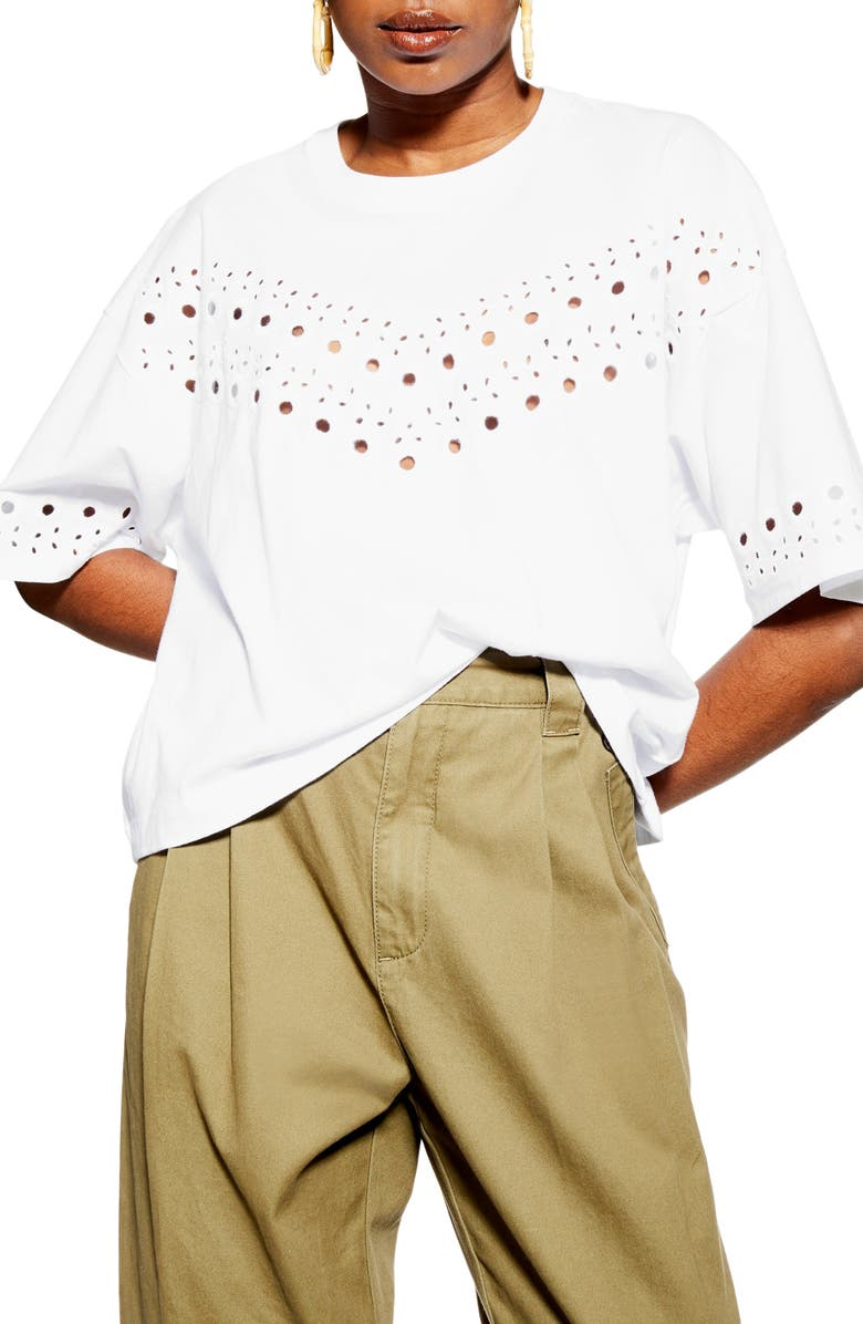 TOPSHOP Broderie Boxy Tee, Main, color, 100