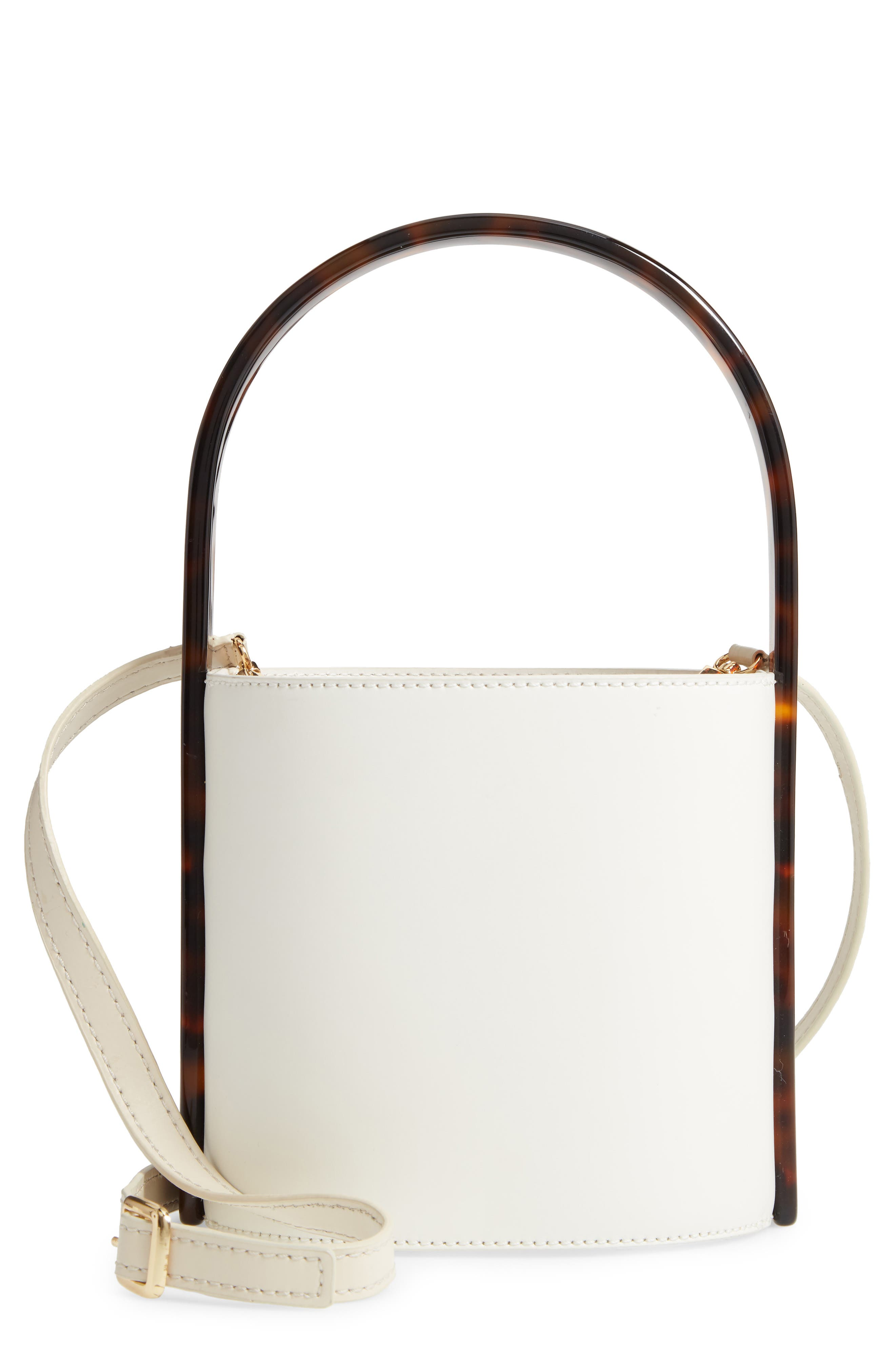 Staud Bags Tortoise Bissett Leather Bucket Bag