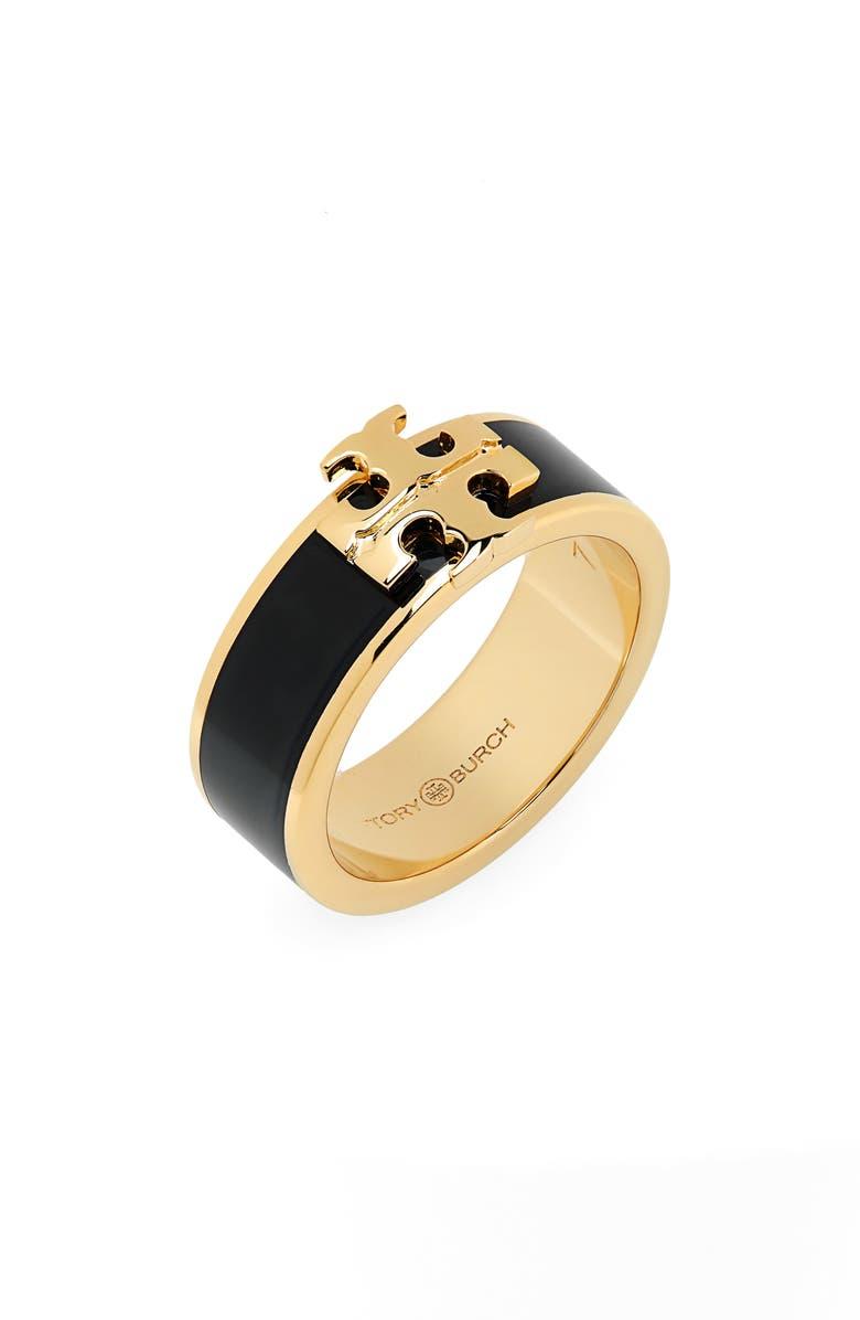 TORY BURCH Kira Logo Ring, Main, color, TORY GOLD / BLACK