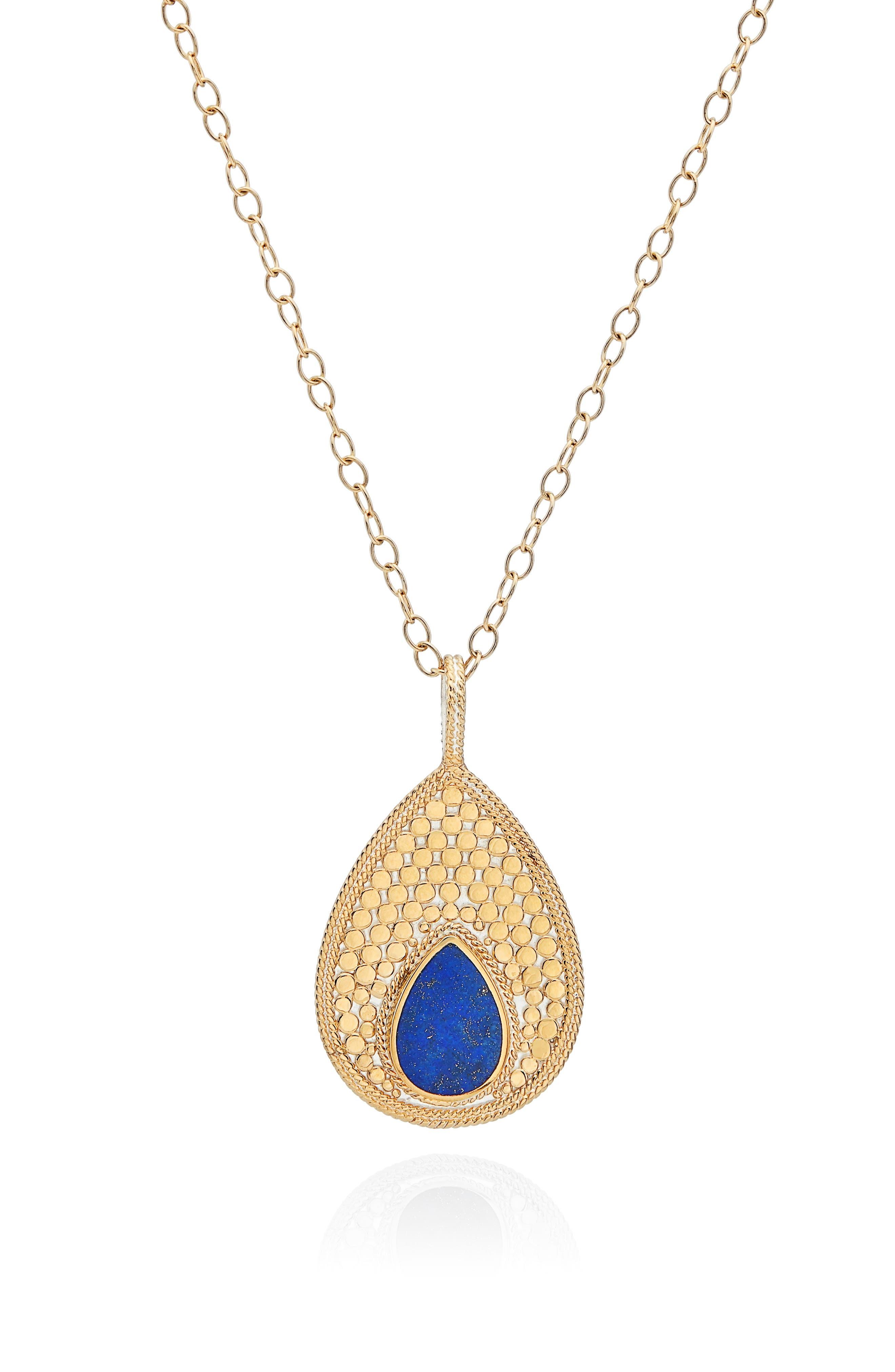 Lapis Long Pendant Necklace