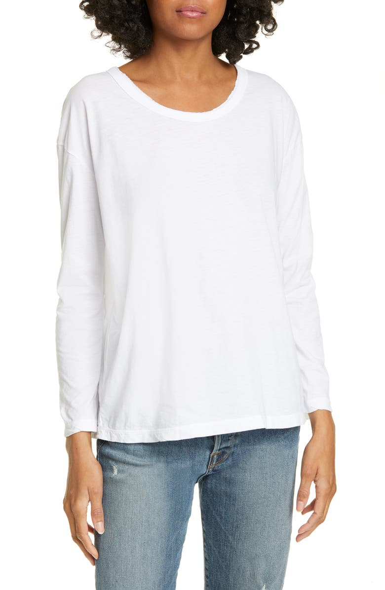 JAMES PERSE Raw Edge Long Sleeve Tee, Main, color, WHITE
