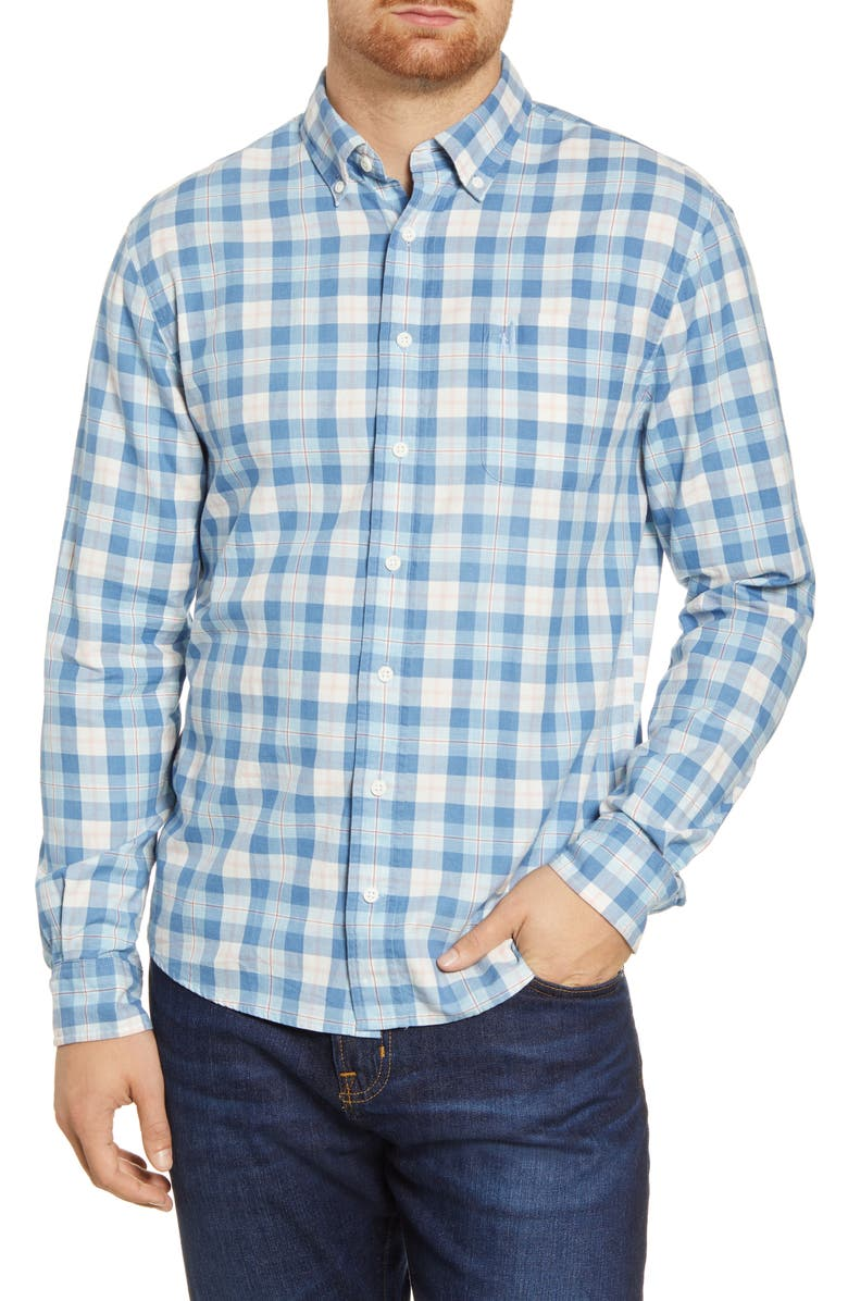 JOHNNIE-O Brighton Classic Fit Check Button-Down Shirt, Main, color, MARLIN