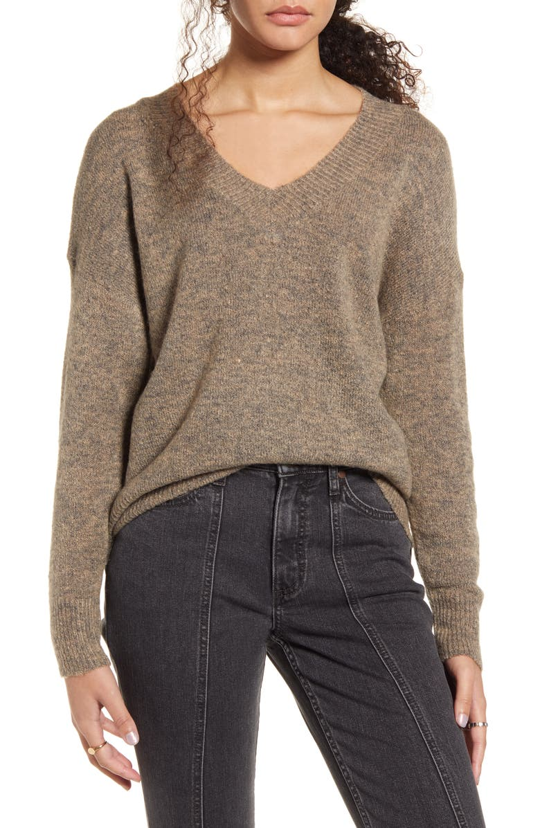 DREAMERS BY DEBUT V-Neck Tunic Sweater, Main, color, HEATHER MOCHA