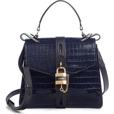 Chloe Medium Aby Croc Embossed Calfskin Shoulder Bag - Blue