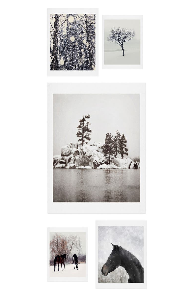 DENY DESIGNS Winter Farm 5-Piece Gallery Wall Art Print Set, Main, color, BLACK/ WHITE