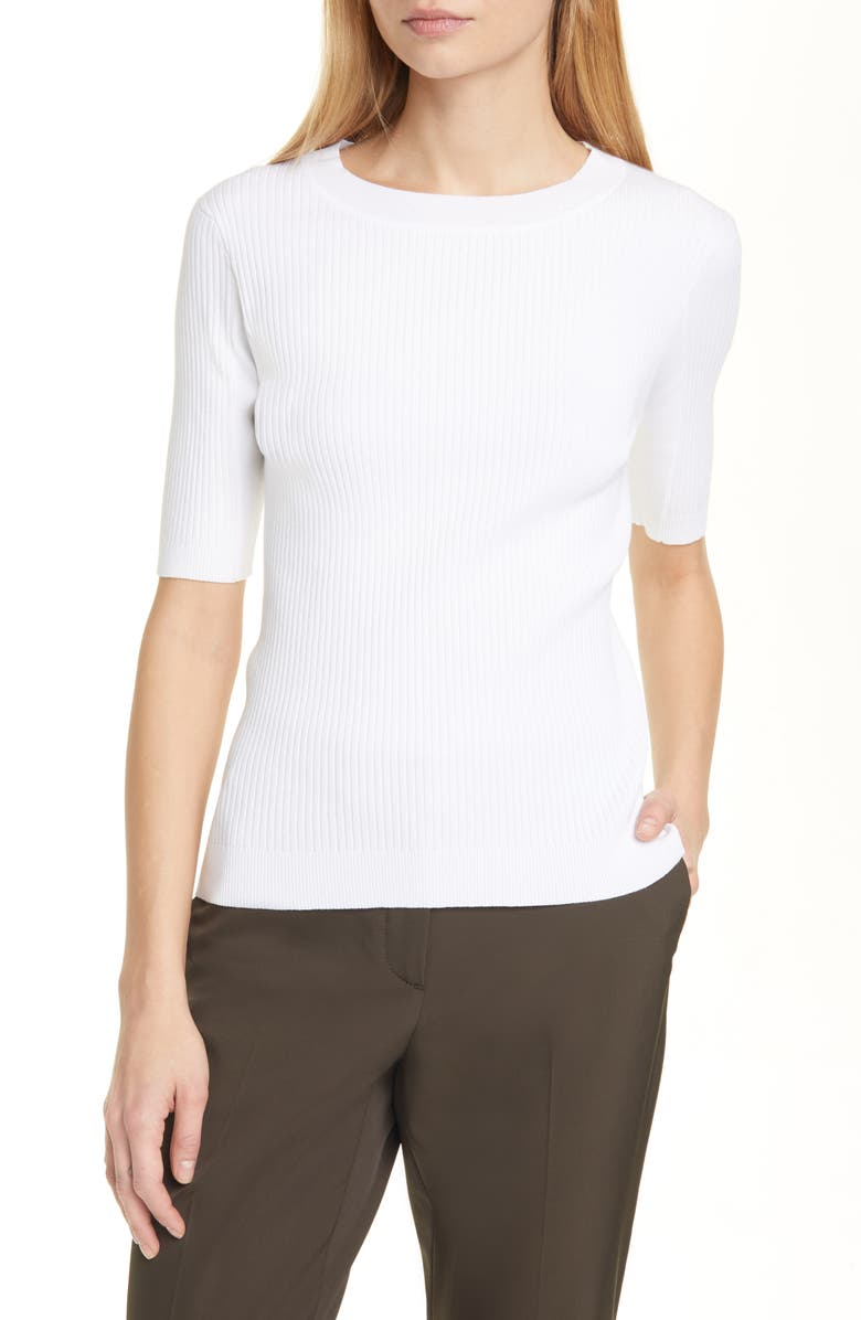 JUDITH & CHARLES Anok Ribbed Sweater, Main, color, WHITE