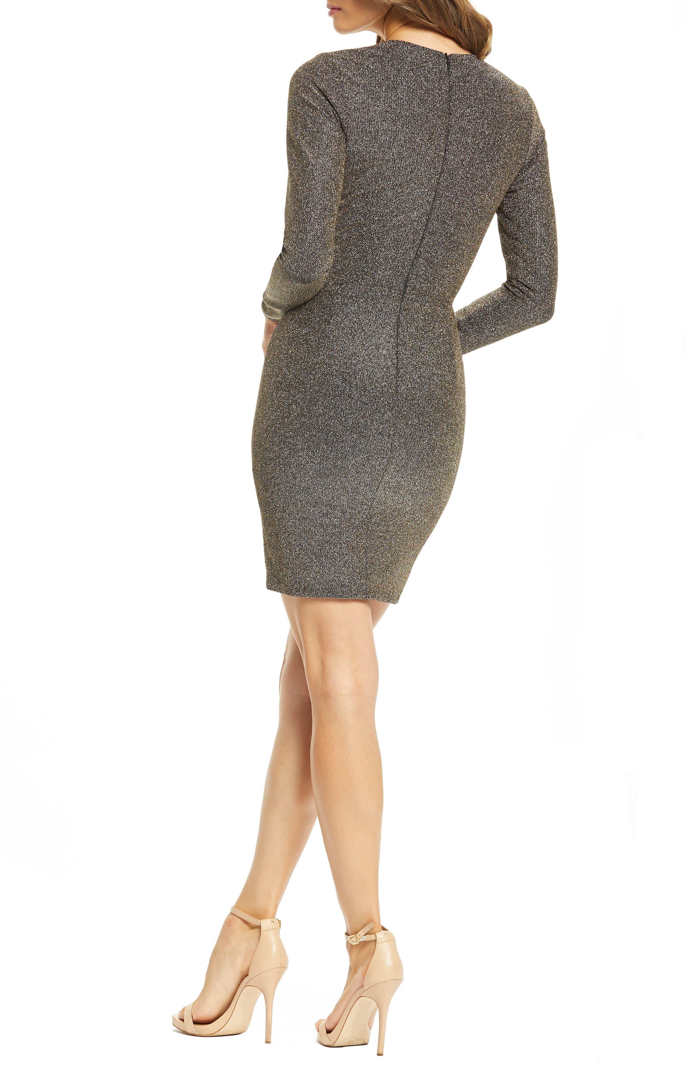 ,                             Riley Plunge Neck Metallic Sheath Dress,                             Alternate thumbnail 2, color,                             001
