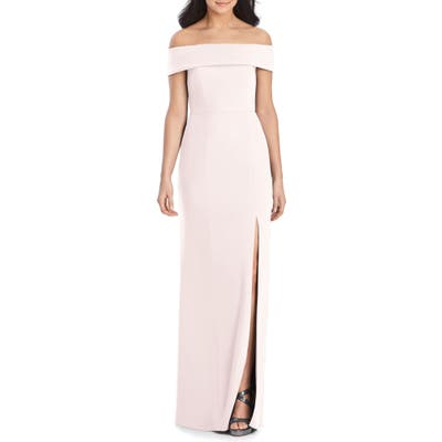 Dessy Collection Off The Shoulder Side Slit Crepe Gown, Pink
