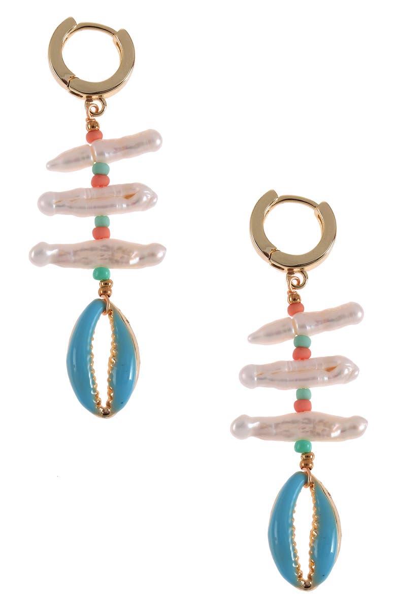 NAKAMOL CHICAGO Pearl Huggie Hoop Earrings, Main, color, WHITE MIX