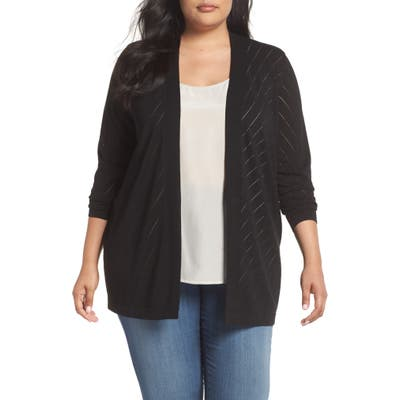 Plus Size Vince Camuto Pointelle Open Front Cardigan, Black
