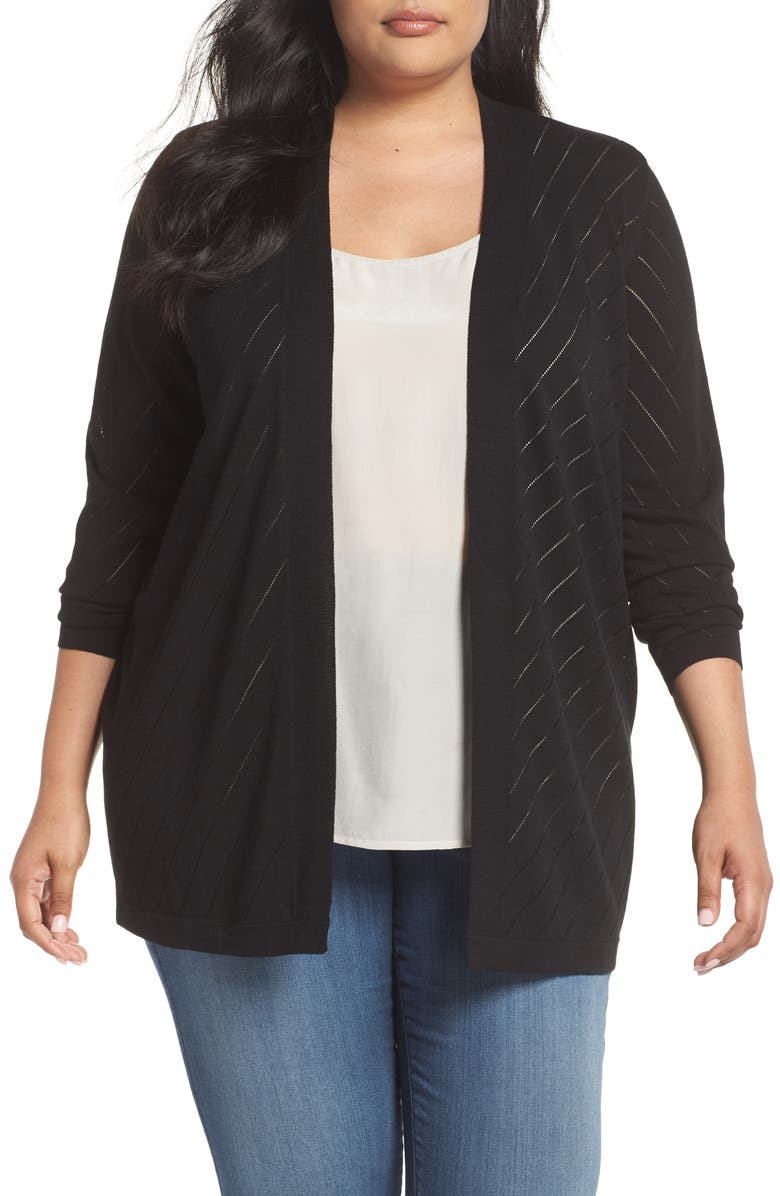 VINCE CAMUTO Pointelle Open Front Cardigan, Main, color, RICH BLACK