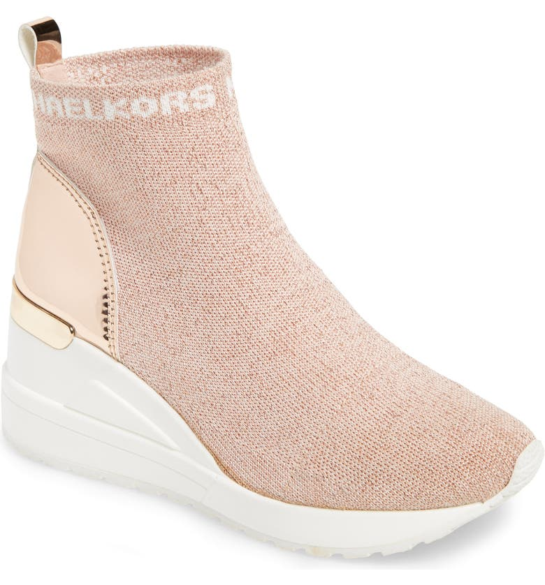 MICHAEL MICHAEL KORS Neo Ora Metallic Wedge Sneaker, Main, color, BLUSH