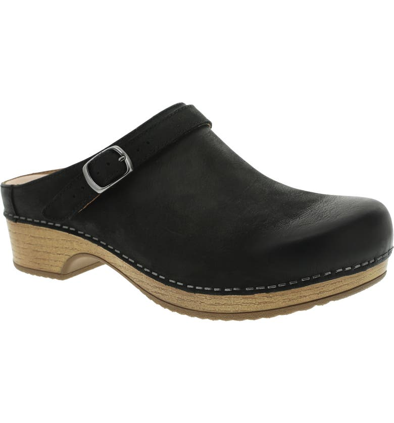 DANSKO Berry Clog, Main, color, BLACK BURNISHED NUBUCK LEATHER