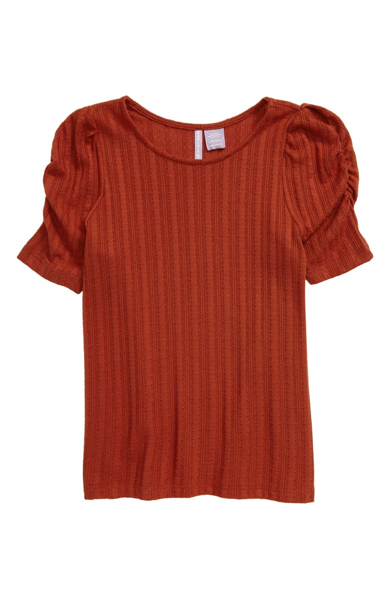 GOOD LUCK GIRL Ruched Sleeve Tee, Main, color, RUST