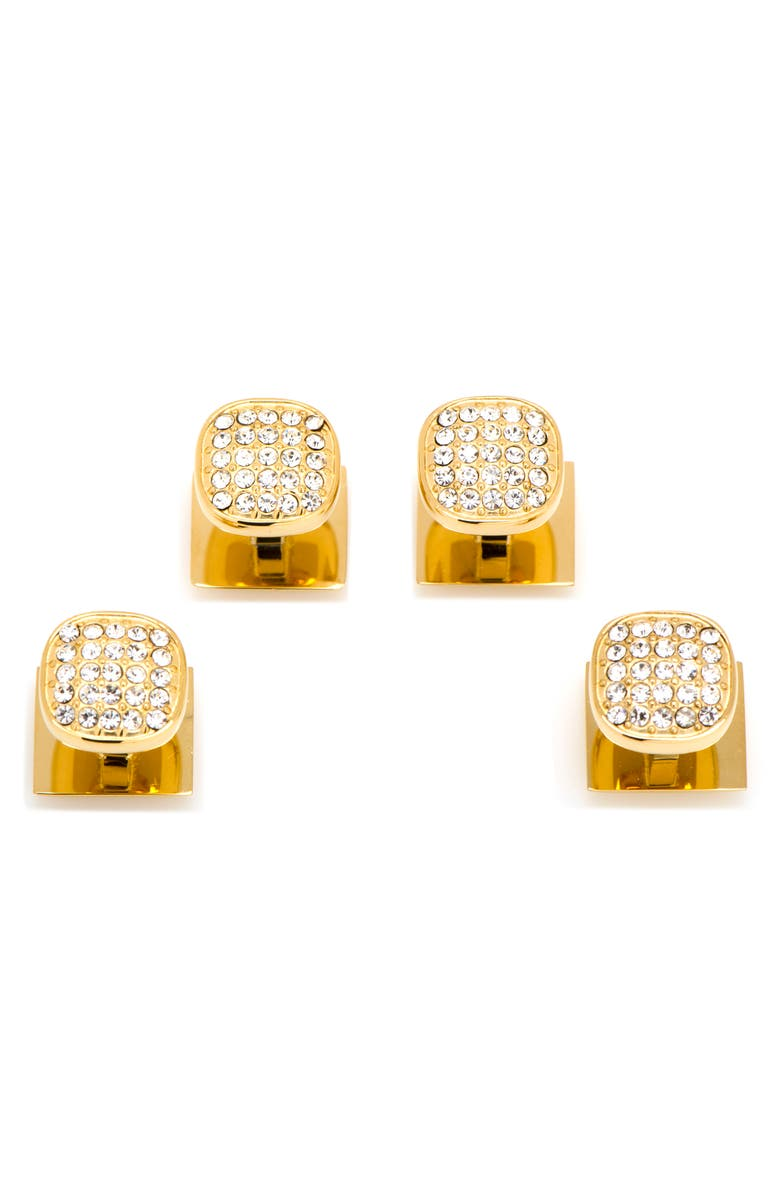 CUFFLINKS, INC. Pavé Crystal Shirt Stud Set, Main, color, METALLIC GOLD