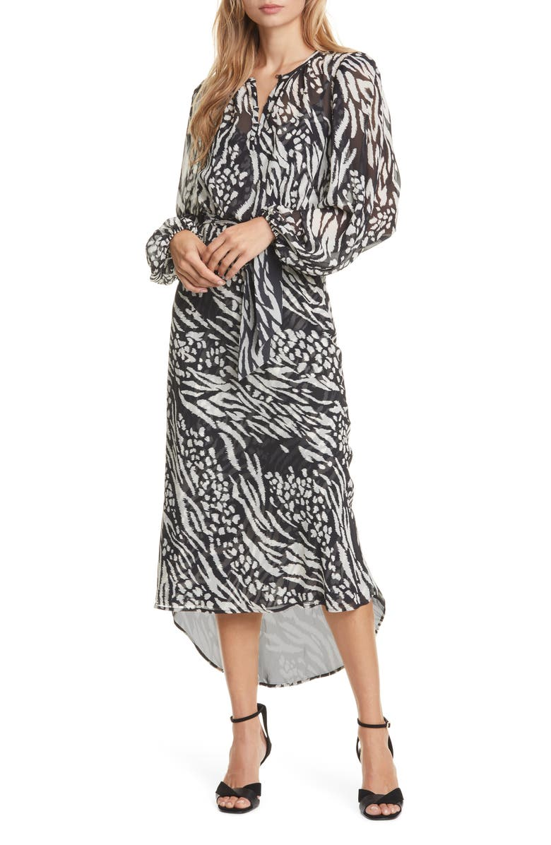 VERONICA BEARD Mavis Stripe & Spot Print Long Sleeve Silk Dress, Main, color, BLACK/ BONE