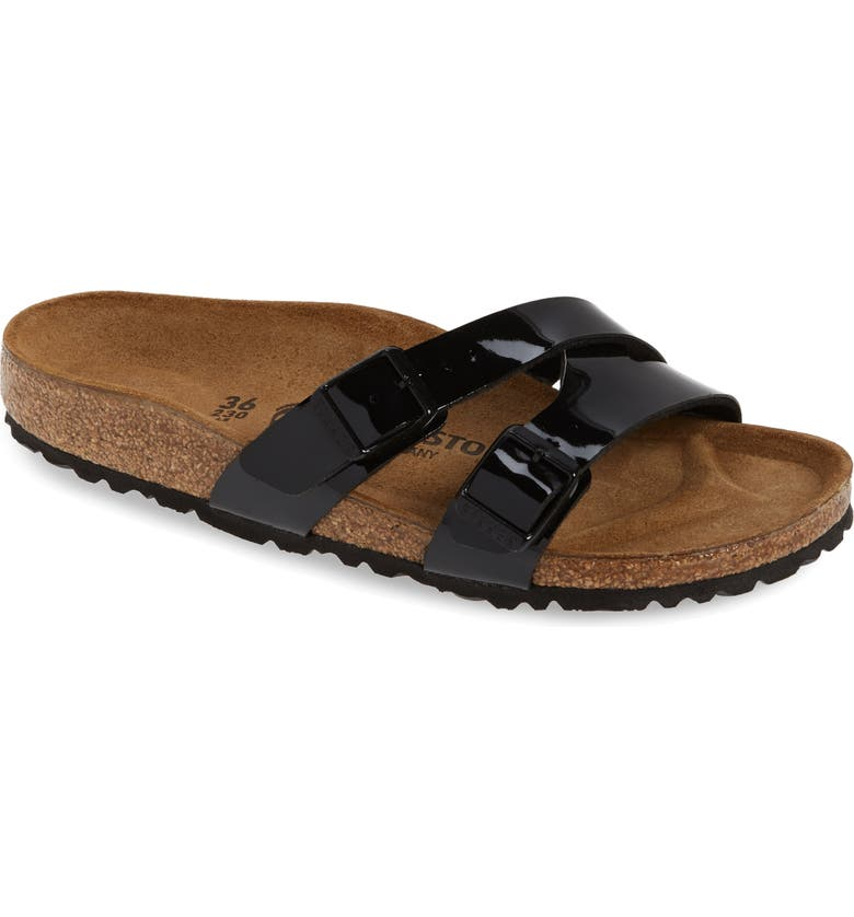 BIRKENSTOCK Yao Slide Sandal, Main, color, BLACK PATENT