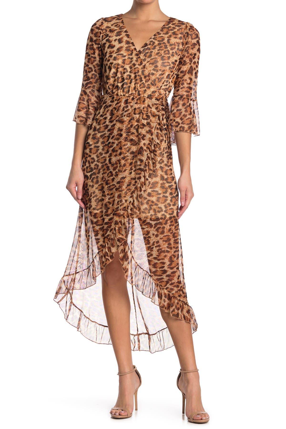 Image of KENEDIK Leopard Print Mesh 3/4 Sleeve High/Low Dress