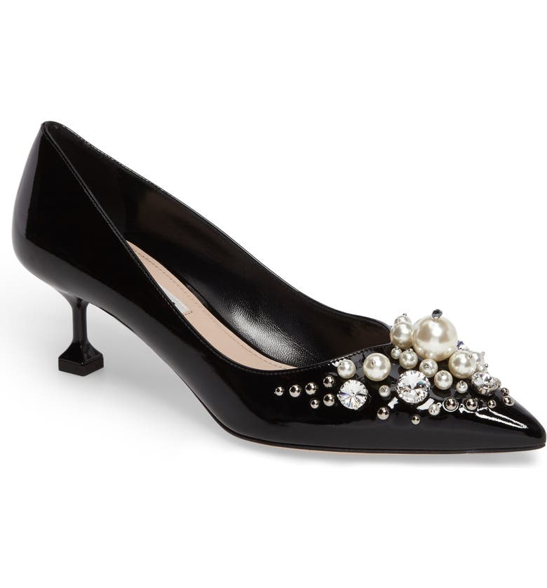 MIU MIU Embellished Pedestal Heel Pump, Main, color, 001
