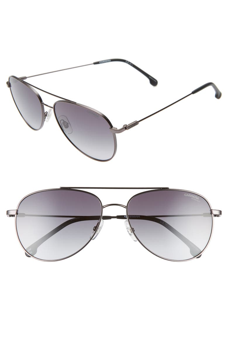 CARRERA EYEWEAR 60mm Aviator Sunglasses, Main, color, DARK RUTHENIUM BLACK