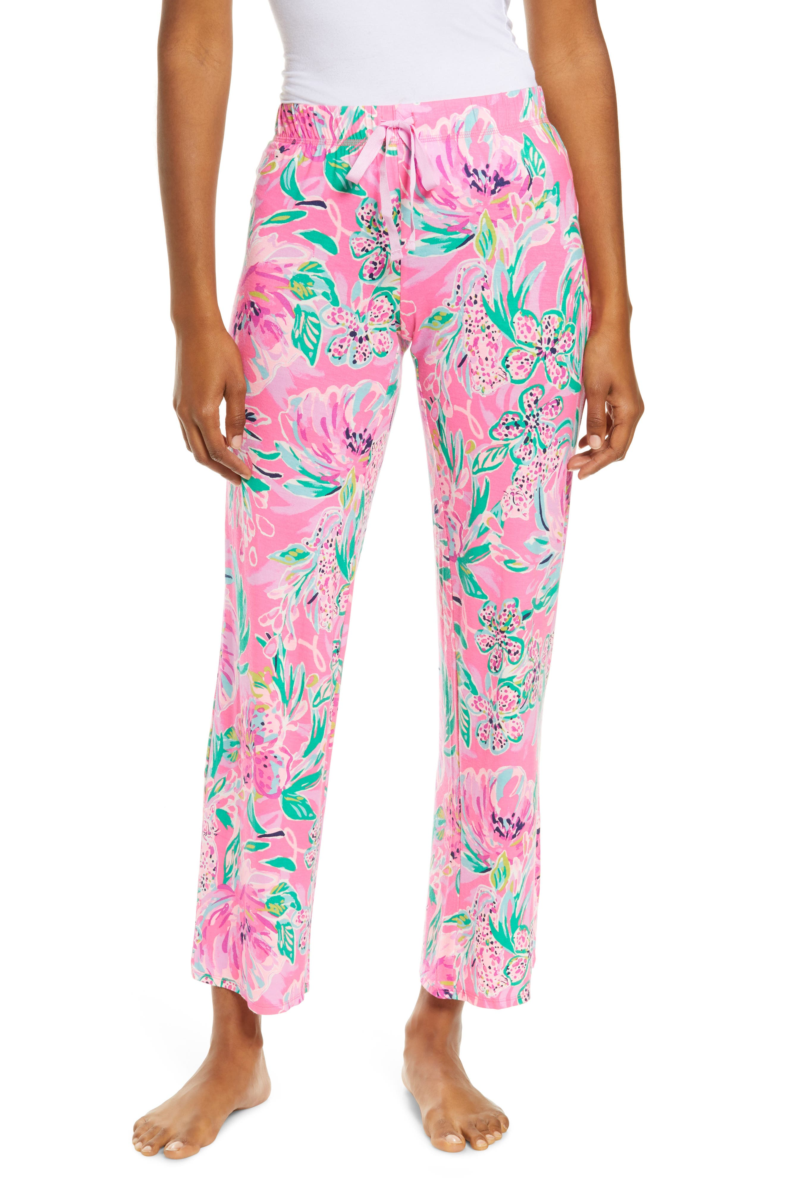 You\\\'ll find yourself dreaming of flamingos and frothy drinks around the pool when you wear these happy-print knit pajama pants to bed. Style Name: Lilly Pulitzer Floral Print Sleep Pants. Style Number: 6127622. Available in stores.