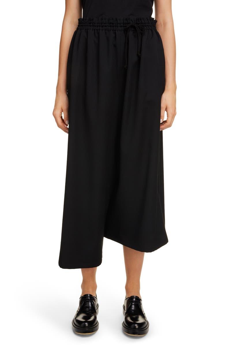 Y'S BY YOHJI YAMAMOTO Asymmetrical Wool Gabardine Pants, Main, color, BLACK