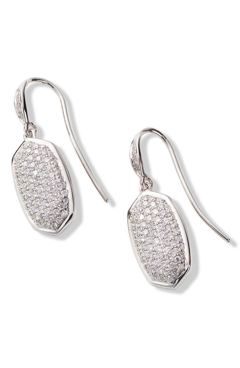 KENDRA SCOTT Lee Diamond & White Gold Drop Earrings, Main, color, 14K WGLD WHITE DIAMOND