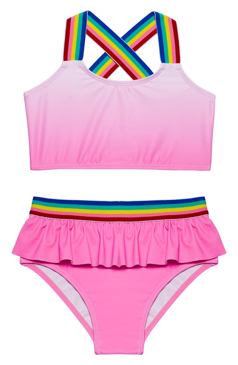 ANDY & EVAN Ombré Two-Piece Swimsuit, Main, color, PINK OMBRE